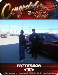 Congratulations Franklin Brown on your new Red Kia Sportage! - From Michael Mason at Patterson Kia