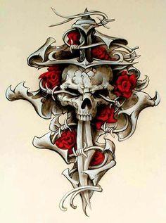 All About Art Tattoo Studio Rangiora. Skull Rose Tattoos, Body Art Tattoos, Tatoos, Skull Tattoo Design, Skull Design, Tattoo Sketches, Tattoo Drawings, Totenkopf Tattoos, Rock Poster