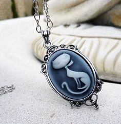 Pendant  Necklace - Cameo, Retro, Cat, Kitty, Long Chain, Antique Silver. $24.00, via Etsy.