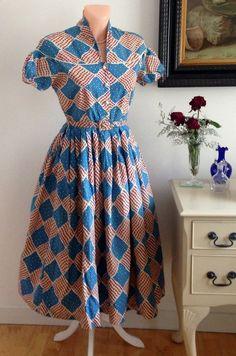 Vintage 1940s Dress Huge Skirt Fitted Bodice Swing Jive Genuine Pristine 14   eBay