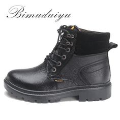 bcb0278e4b6 BIMUDUIYU Brand Casual Men Tooling Boot Head Layer Dermis winter Boots Keep  Warm Middle High Cylinder
