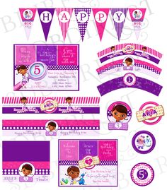 Doc Mcstuffins Party Pack With Invitation, Doc Mcstuffins Party, Mcstuffins Invitation, Mcstuffins Invitations, Supplies Printable. $24.99, via Etsy.