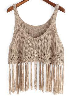 Der Neue : Boho Knit Tassel Cami Top in Kamel-Scheiße, Top Crop Tejido En Crochet, Crochet Blouse, Crochet Bikini, Knit Crochet, Crochet Tank Tops, Cami Tops, Crochet Clothes, Diy Clothes, Knitting Patterns