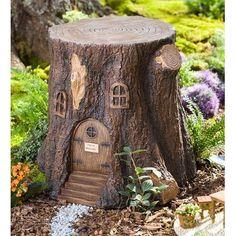 Plow & Hearth Whimsical Fairy Garden Tree Stump Stool