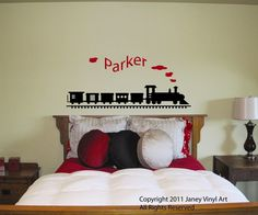 Train with Name Vinyl Decal - Monogram Peronsalized - Sticker Wall Art - Kids Bedroom Nursery Crib - Matte Lettering Quote. $34.95, via Etsy.