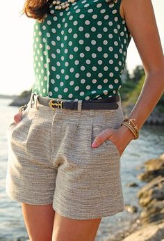 Love the higher/longer look of these shirts. Paired with a cute polka dot top and accessories, you're good to go!