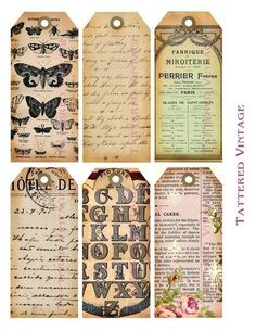 Antique Butterflies French Postcard Collage Tags.