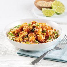 Chou-fleur Général Tao - Les recettes de Caty Poulet General Tao, Pizza Legume, Poutine, Food Preparation, Allrecipes, Meal Prep, Chinese, Non Non, Sauce