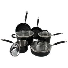 Rachael Ray 10-Piece Stainless Steel Cookware Set Nonstick Pans Pots Black ** Check this awesome product by going to the link at the image.