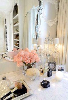 ~ Living a Beautiful Life ~ Vanity table   Penteadeira   Dressing Table   Makeup Storage Vanity   Makeup Mirror   Quarto   Decoração   Home   Interior   Design   Decoration   Organization
