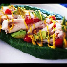 Avocado Turkey Collard Green Wrap  Healthy Lunch