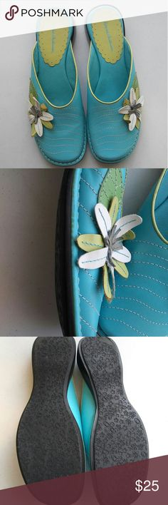 HANNA ANDERSSON SHOES SLIP ON MULES SIZE 8/38 TEAL CLOSED TOE SLIDE ON Hanna Andersson Shoes Mules & Clogs