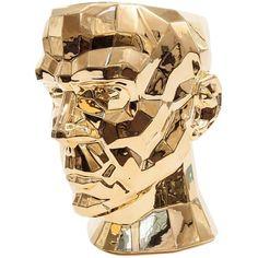 Visionnaire  Forma Mentis Porcelain Vase ($3,595) ❤ liked on Polyvore featuring home, home decor, vases, decor, gold, vase and porcelain vase