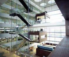 The meeting room of Nykredit's head office by Schmidt Hammer Lassen Architects. Credits by Schmidt Hammer Lassen Architects. Stairs Architecture, Interior Architecture, Interior And Exterior, Contemporary Architecture, Interior Design, Interior Staircase, Atrium Design, Espace Design, Amazing Spaces