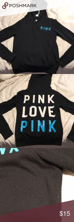 PINK Victoria's Secret hooded sweatshirt PINK VS XS hooded sweatshirt. Black with lettering on the back. Few years old. Some pills near armpit and sides PINK Victoria's Secret Tops Sweatshirts & Hoodies