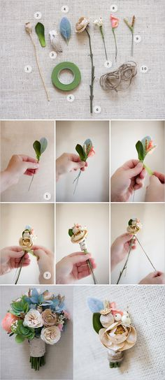 how to make a boutonniere. 1. Poppy Pods 2. Succulents 3. Birch bark 4. Lamb's ear leaf 5. Flower Tape 6. Ivory garden rose 7. Snowberries 8. Peach garden rose 9. Seeded Grasses 10. Twine