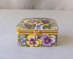 Vintage Pansies Trinket Box Ayshford Staffordshire England Treasure Box Keepsake Box 1990s