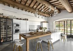 A well-balanced contemporary kitchen created through custom renovation. Clean Kitchen Cabinets, Kitchen Island Table, Kitchen Baskets, Kitchen Benches, Rustic Kitchen Design, Contemporary Kitchen Design, Kitchen Extension With Island, Kitchen Interior, Kitchen Decor