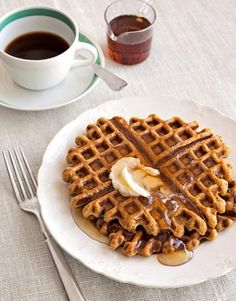 Serve your sweetheart Pumpkin-Ginger Waffles on Valentine's Day morning. #recipes #brunch
