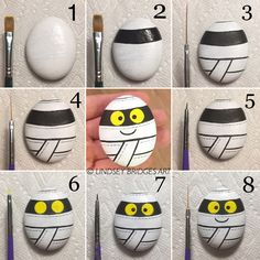 Mummy painted rock step by step how-to by Lindsey Bridges. Perfect Halloween design! #lumakindness