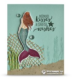CARD Beautiful mermaid card from the Stampin Up Magical Mermaid stamp set, with a little help from the Under the Sea dies. The Mermaid was colored with the Underwater Theme, Mermaid Kisses, Nautical Cards, Beach Cards, Rainbow Card, Mermaid Birthday, Kids Cards, Flower Cards, Stampin Up Cards