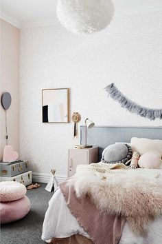 This is what the home of Scandi interiors store owner looks like Mustard Bedding, Scandi Bedroom, Childrens Room Decor, Bedroom Carpet, Little Girl Rooms, Decoration, Luxury Bedding, Girls Bedroom, Slipcovers