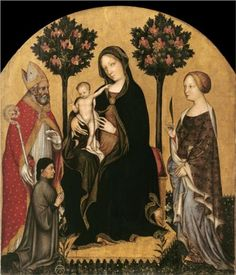 """Early Renaissance  --  """"Mary Enthroned With The Child, Saints And A Donor""""  --  Gentile da Fabriano (1370-1427)  Italian  --  Tempera on wood w/ gold ground  --  No further reference provided."""