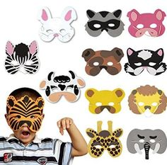 DAYAN 12 pcs Máscaras de animales salvajes de los niños Foam Wild Animal Masks Cosplay Halloween Accesorios