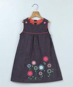 Gray Floral Embroidered A-Line Dress - Infant, Toddler & Girls #zulily #zulilyfinds