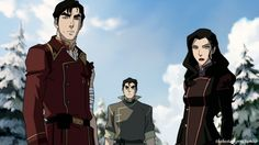 Iroh, Bolin, and Asami I always see so many sketches of Iroh that I forget what he actually looks like haha