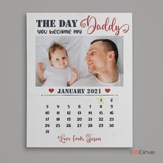 The Day You Became My Daddy Canvas Print is a personalized Father's Day gift for loving fathers who have unconditionally loved their children ever since the day they first laid eyes on them.