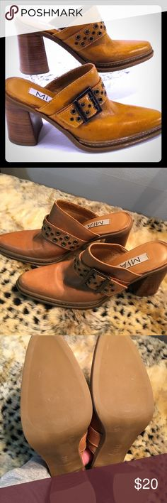 MIA chunky heel mule MIA leather upper chunky heel mule. These are in like-new condition. VERY well made shoe with great buckle accent. Would love to keep them but I'm in desperate need of closet space. You'll love the make and feel of these! Mia Shoes Mules & Clogs