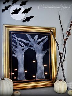 DIY Halloween Crafts And Projects: Framed Art with Light-Up Eyes