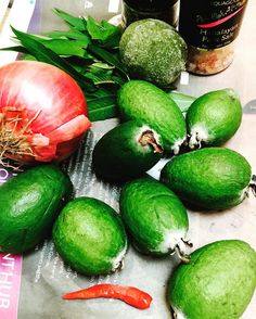 Feijoa Salsa a spicy addition to the fridge pantry staples - will try with chicken but suspect will be perfect with fish Fun Food, Good Food, Healthy Tips, Healthy Recipes, Harvest Time, Delicious Vegan Recipes, Positive Life, Vegan Vegetarian, Pantry