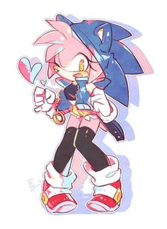 Amy with her Sonic gear Sonic The Hedgehog, Hedgehog Movie, Shadow The Hedgehog, Sonic And Amy, Sonic And Shadow, Amy Rose, Sonamy Comic, Character Art, Character Design