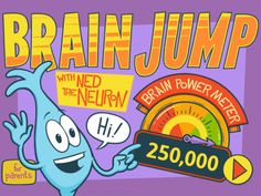 Review of Brain Jump with Ned the Neuron by Kizoom. Teaches kids about neuroplasticity and provides them with 3 fun games to work their brains.  #kidsapps #STEM #edtech