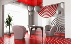Lovely modern living room with red and white circle motif