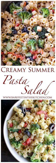 Creamy Summer Pasta Salad - get the recipe at barefeetinthekitchen.com: