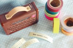 Washi tape printer.  (I have always wanted to buy washi tape, but can't justify it.  Now there's a printer for the tape.  Not sure I can out much longer!) Mt Tape, Masking Tape, Washi Tape Storage, Duct Tape Crafts, Decorative Tape, Stationery Paper, Quis, How To Make Paper, Arts And Crafts Supplies