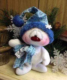 Primitive HC Holiday Christmas Doll Snowman Snowflake Blue Super Cute! #IsntThatCute #Christmas