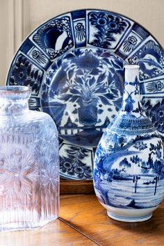 Japanese ceramics and a French decanter.