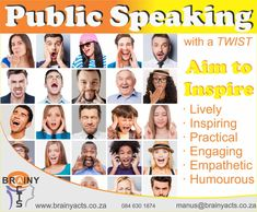 Practical, lively, humourous, empathetic, inspiring and engaging are some of the words describing Manus du Toit's motivational speeches. He brings a different perspective, turn ideas on their heads and presents them in different ways which can help people see things differently. This can help turn perceived challenges into opportunities or can replace complexity with simpler approaches.  #brainyacts #publicspeaking #keynote