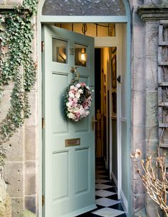 The English Home - January 2013 Door colour love and entryway flooring.