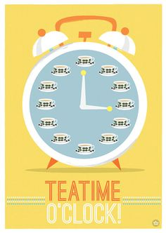 Tea Art Print Retro Clock Teatime o'clock Stig by myretronest, $24.00