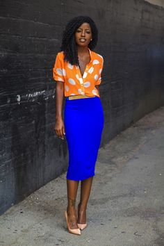Orange Polka Dot Shirt + Blue Pencil Skirt by Style Pantry Fashion Mode, Work Fashion, I Love Fashion, Womens Fashion, Style Fashion, Style Work, Mode Style, Blouse Orange, Blue Pencil Skirts