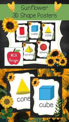 These colorful 3D shape posters are part of my Sunflower Classroom Decor collection. Each poster features various 3D shapes accented with bright colors and sunflower themed graphics! 3D Shape Posters Included: Pyramid Cube Cylinder Rectangular Prism Sphere Triangular Prism Hemisphere Octahedron #teacherspayteachers #tpt #sunflower #backtoschool #classroommanagement #3dshapes #geometry 1st Grade Activities, Easel Activities, 4th Grade Classroom, Classroom Decor, Math Resources, Classroom Resources, Triangular Prism, Shape Posters, 3d Shapes