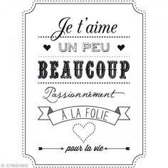 Tampon bois Amour - Je t'aime Un peu Beaucoup - 6 x 8 cm - Photo n°2