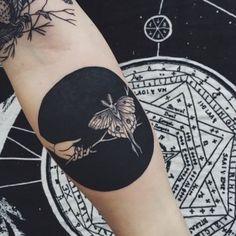 Black Ink Moth Tattoo Design