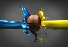 colorful paint high speed basketball photography