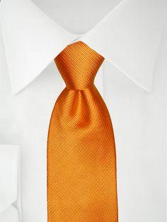 Cravate rayée orange cuivré